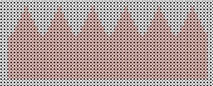 Dette mønster bruges hvis du vil stryge siderne sammen. Hvis du blot vil kunne flætte siderne sammen, skal du bruge 'Mønster2'.